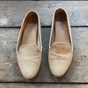 Tan and Gold Studded J. Crew Loafers Size 6